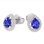 18ct White Gold Tanzanite & Diamond Earrings
