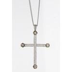 18ct White Diamond Studded Cross