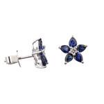 Sapphire & Diamond Flower Studs