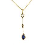 Diamond & Sapphire Teardrop Pendant