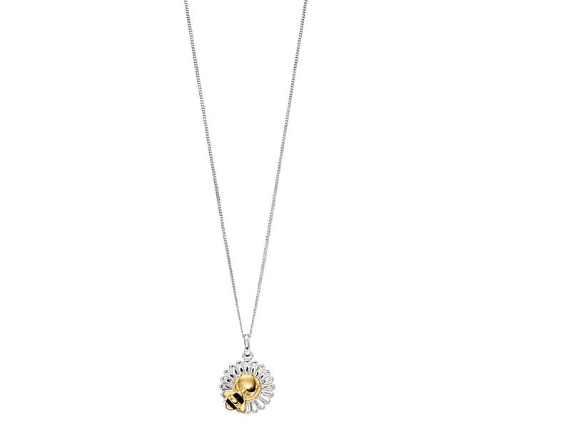 z1300_Gold_Plated_Bee___Flower_Necklace