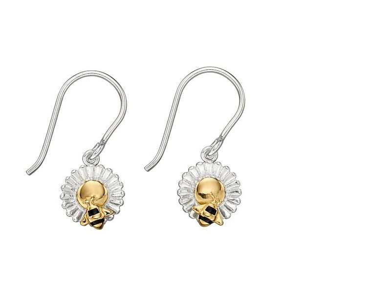 z1301_Gold_Plated_Bee___Flower_Drop_Earrings