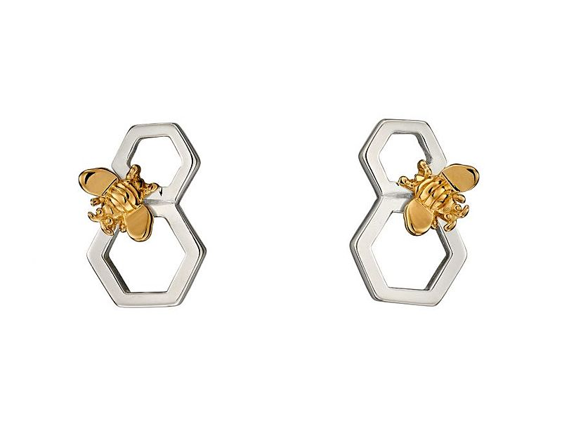z1276_Honeycomb___Gold_Plated_Bee_Earrings