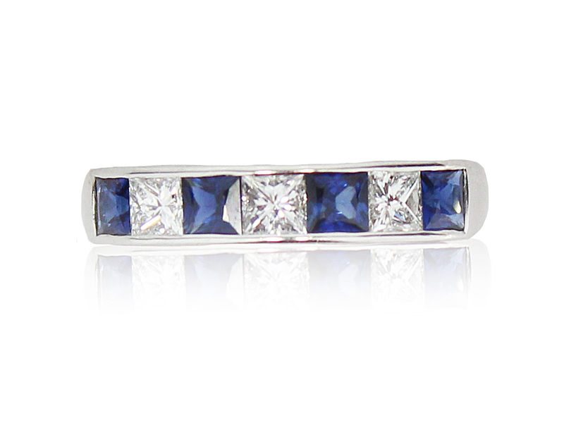 8123076_18ct_White_Gold_4_Sapphire_3_Diamond_Half_Eternity_Ring_