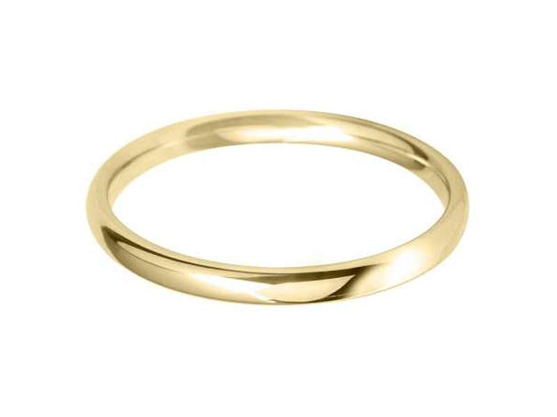 18ct Yellow Gold 2mm Classic Light Court Wedding Band Sizes A-Q