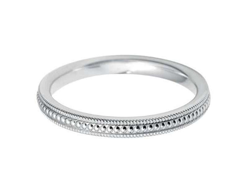 18ct White Gold 2.5mm Vintage Style Beaded Wedding Band Sizes A-Q