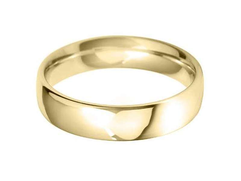 18ct Yellow Gold 5mm Classic Court Wedding Band Sizes R-Z