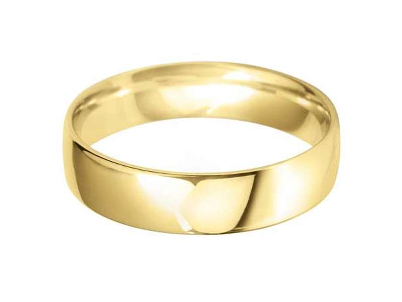 18ct Yellow Gold 5mm Classic Light Court Wedding Band Sizes R-Z