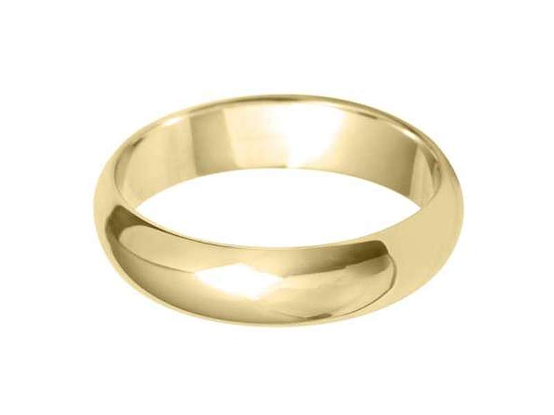 18ct Yellow Gold 5mm Heavy D Shaped Wedding Bands Sizes R-Z