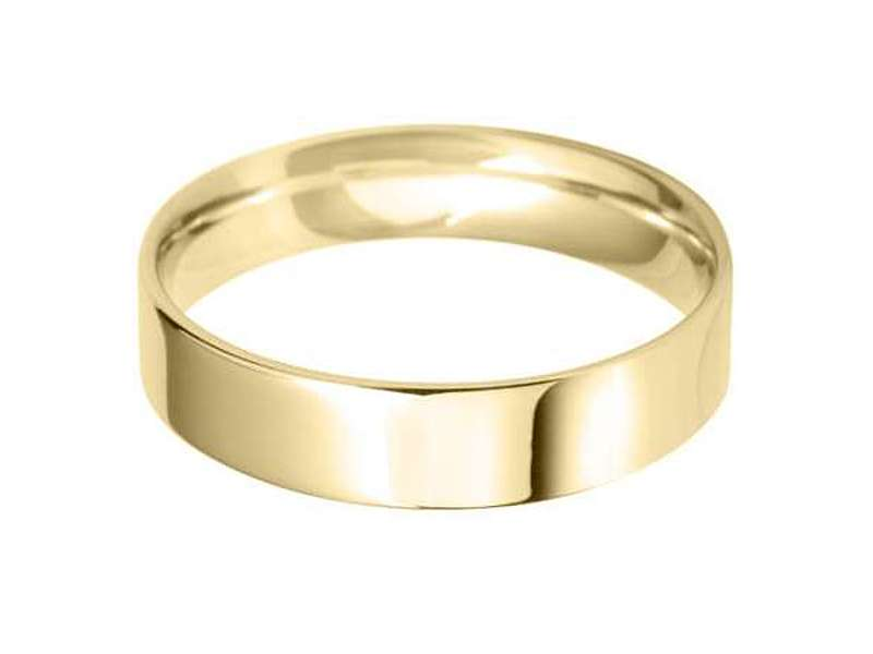 18ct Yellow Gold 5mm Light Flat Court Wedding Band Sizes R-Z
