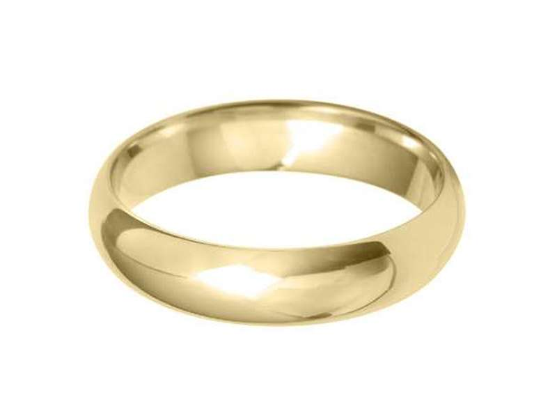 18ct Yellow Gold 5mm D Shaped Wedding Band Sizes R-Z
