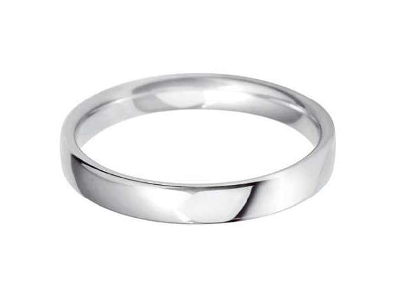 18ct White Gold 3mm Classic Light Court Wedding Band Sizes A-Q