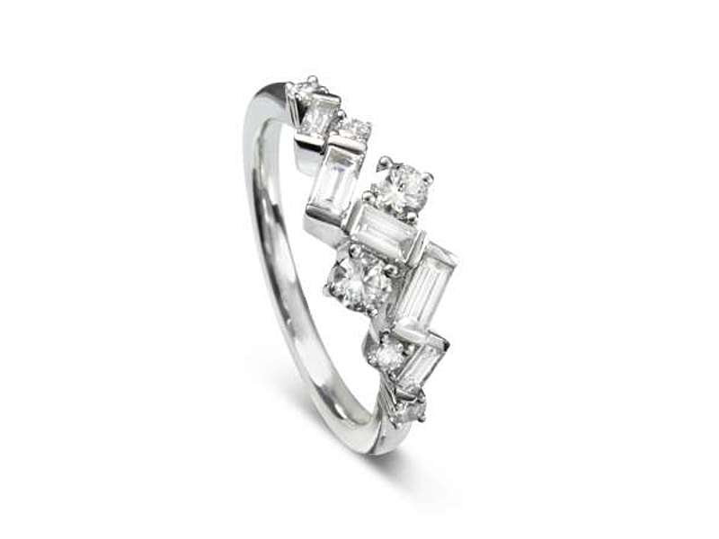 18ct White Gold Art Deco Style Diamond Ring Size M-N