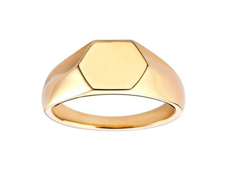 9ct Yellow Gold 9mm Hexagonal Signet Ring